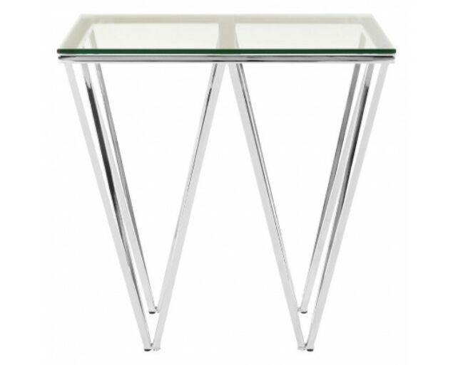 Rella Lux konzolasztal - ezüst, üveg