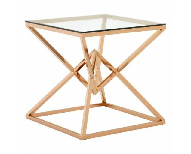 Rella Diamond konzolasztal - vörös arany, üveg