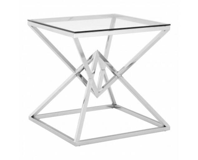 Rella Diamond konzolasztal - ezüst, üveg