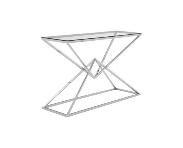 Rella Diamond konzolasztal - ezüst, üveg  NAGY