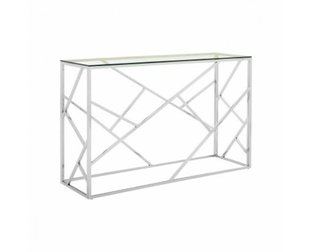 Rella konzolasztal - ezüst, üveg