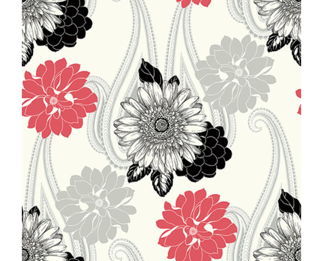 Black and White - Floral Paisley -20801