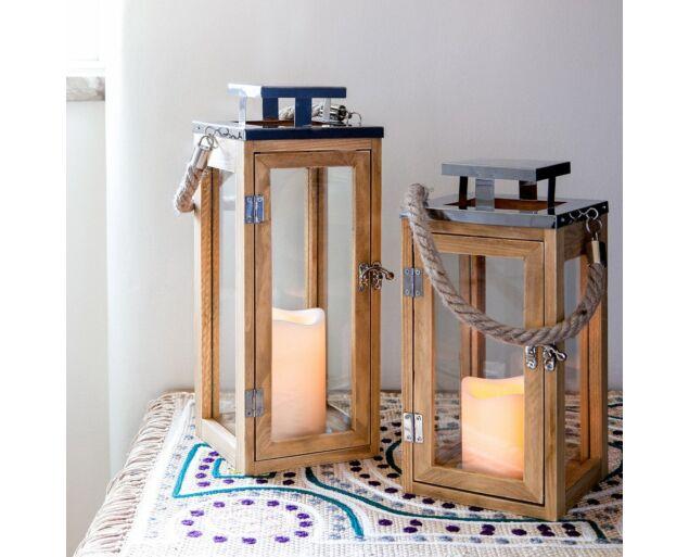 Design Fa-króm Viharlámpa LED gyertyával  - Kicsi