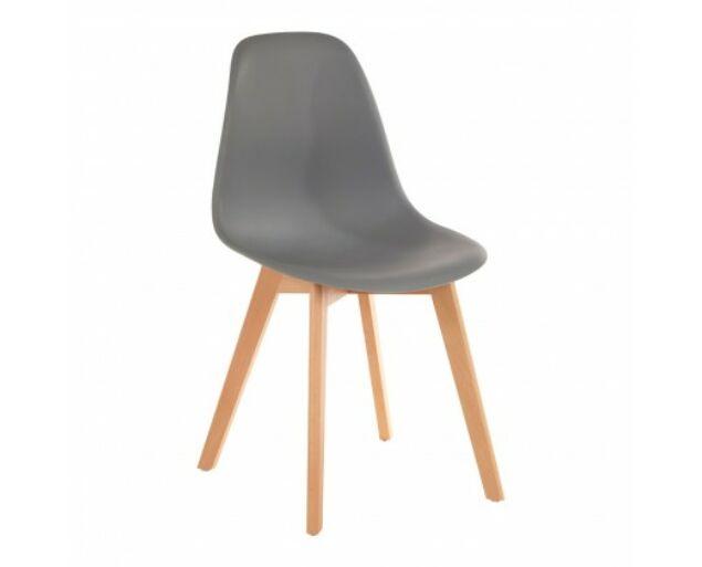 Helsinki műanyag szék fa lábakkal - szürke