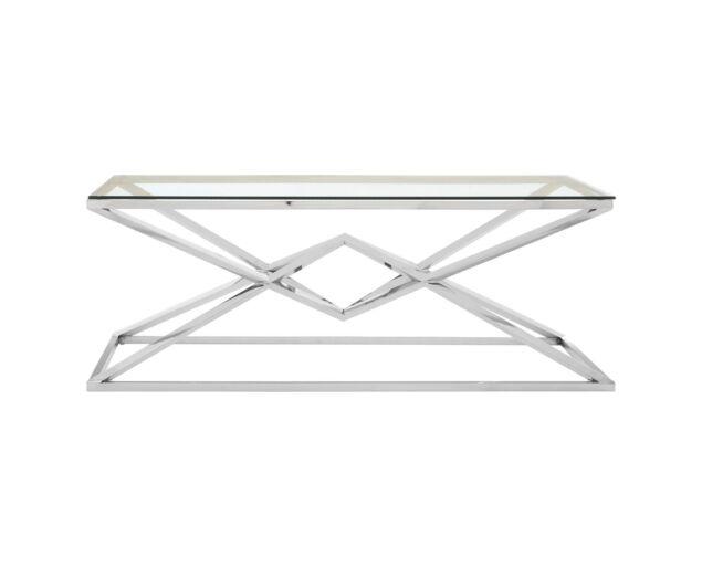 Rella Diamond dohányzóasztal - ezüst, üveg