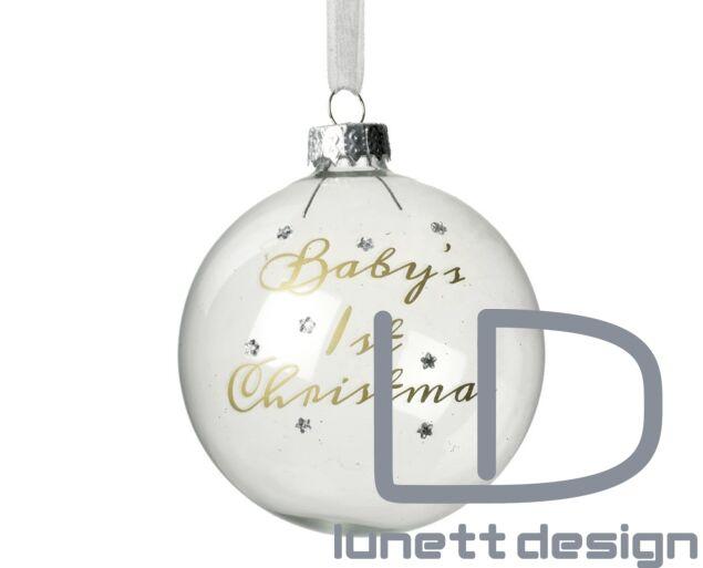 Baby első karácsonya - fehér gömb dísz