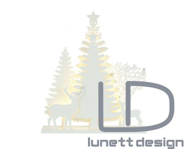 Karácsonyi világító dísz - fenyőfa szarvasokkal 40x45 cm